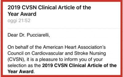 "L'infermiere Gianluca Pucciarelli premiato per il ""Clinical Article of the Year"" dall'American Heart Association"