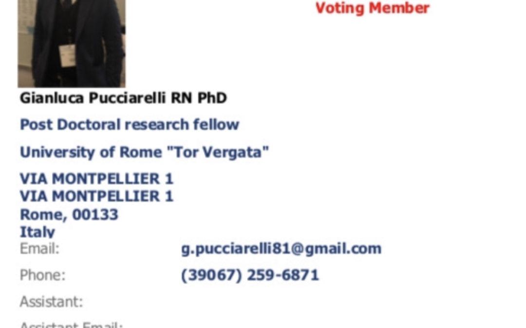 L'infermiere Gianluca Pucciarelli inserito nello Stroke Nursing Committee dell'American Heart Association.