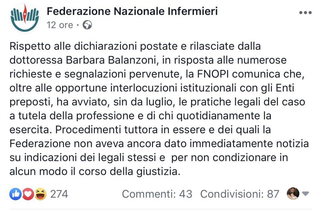 Anche la FNOPI procederà per vie legali nei confronti di Barbara Balanzoni