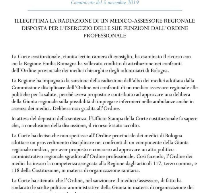 Corte Costituzionale: illegittima la radiazione dell'Assessore Sergio Venturi