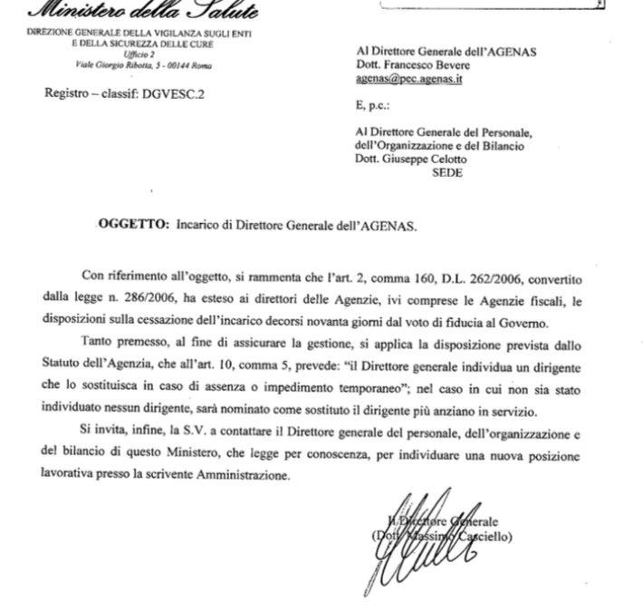 Il Ministro Speranza revoca l'incarico al DG di Agenas Bevere