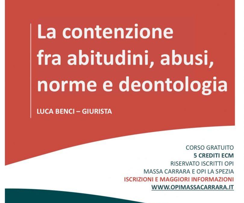 OPI Massa Carrara e OPI La Spezia discutono su contenzione e implicazioni deontologiche