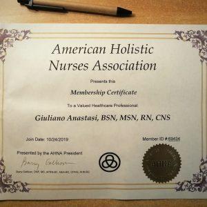 L'infermiere Giuliano Anastasi nominato membro dell'American Holistic Nurses Assosiation