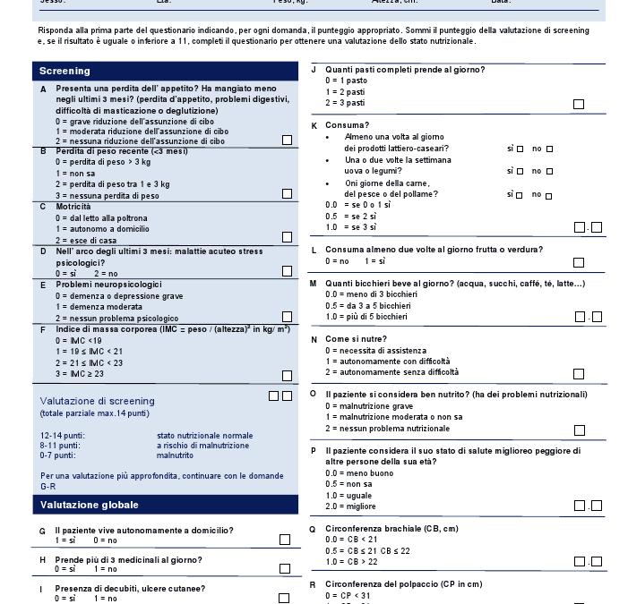Scale di valutazione sulla Nutrizione: la Mini Nutritional Assessment (MNA)