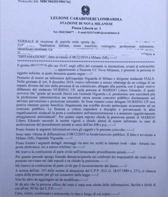 Fials: querelato per Diffamazione responsabile provinciale Nursing Up Milano