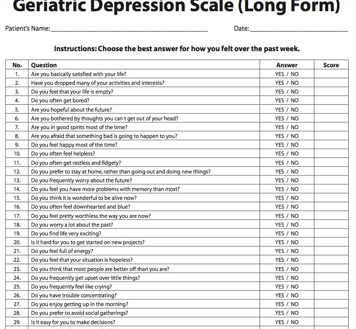 Infermiere, assistenza al paziente anziano fragile: Geriatric Depression Scale